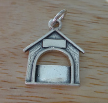 Engraveable Dog House Picture Frame Sterling Silver Charm