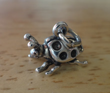 3D 10x12x10mm Ladybug Bug Insect Sterling Silver Charm