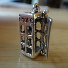 3D 22x10mm Movable Telephone Phone Booth Sterling Silver Charm