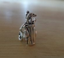 3D 10x16mm Movable Golf Bag on Rolling Cart with Clubs Sterling Silver Charm