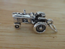 3D 9x20mm Farm Tractor Sterling Silver Charm