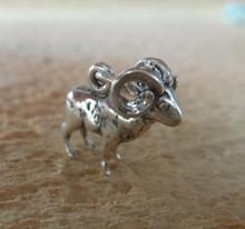 3D 15x16mm Big Horn Sheep Ram Sterling Silver Charm