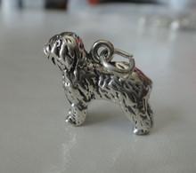 19x15mm 3D Shaggy Sheep Dog Sterling Silver Charm