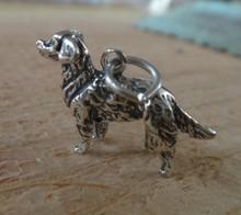 24x20mm Large 3D Golden Retriever Dog Sterling Silver Charm