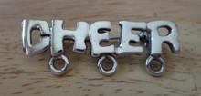 Sterling Silver Charm Pin Holds 3 Charms says CHEER