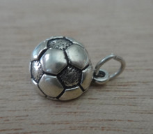 11mm 3/4 Hollow Soccer Ball Sterling Silver Charm