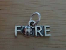 16x8mm says FORE with Golf Ball Sterling Silver Charm