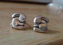9x9mm Small Flop Ear Bunny Rabbit Sterling Silver Studs Earrings