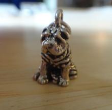 17x11mm 3D Shar Pei Dog Sterling Silver Charm