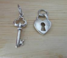 22x9mm Both Skeleton Key & Lock Heart Sterling Silver Charm