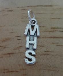 MHS ie. Memorial High School etc. Sterling Silver Charm