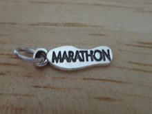 6x17mm Shoe Bottom says Marathon Running Jogging Sterling Silver Charm