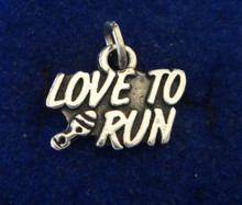 says Love to Run Jogging Sterling Silver Charm