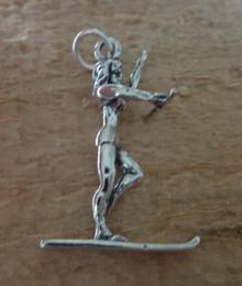 3D 18x27mm Female Girl Water Ski Skier Sterling Silver Charm