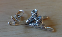 21x11mm 3D Water or Snow Skis with Boots Sterling Silver Charm