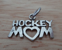 22x15mm Hockey Mom with a Heart for the O Sterling Silver Charm