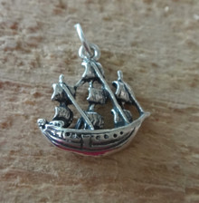 3D 15x18mm Old Sailboat Mayflower type Ship Sterling Silver Charm