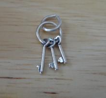 Small 17x9mm Skeleton Keys on a Key Ring Sterling Silver Charm