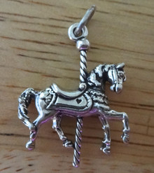 3D 19x24mm Merry Go Round Carousel Horse Sterling Silver Charm