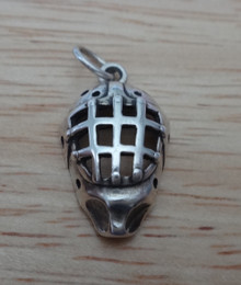 3D 13x20mm Goalie's Hockey Player Mask Sterling Silver Charm