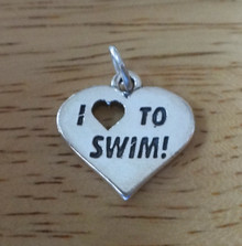 19x28mm I Love (Heart) to Swim Swimming Sterling Silver Charm