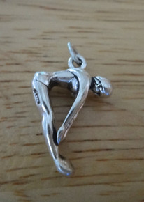 3D 15x23mm solid heavy Girl Diving Sterling Silver Charm