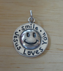 Smile Jesus Loves You Smiley Face Sterling Silver Charm