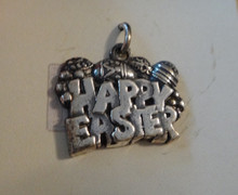 19x15mm says Happy Easter with Easter Eggs Sterling Silver Charm
