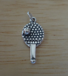 Table Tennis Paddle Ping Pong Ball Sterling Silver Charm