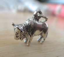 3D 21x14mm Buffalo Bison Bull Animal Sterling Silver Charm