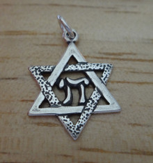 16x22mm Star of David with Chai Sterling Silver Charm