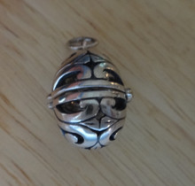 21x16mm Movable Easter Egg Pendant Sterling Silver Charm