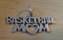 15x30mm Basketball Mom Sterling Silver Charm