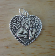 20x20mm Rafael's Angel in a Heart Sterling Silver Charm