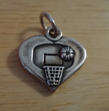 17x17mm Basketball Heart w/ Hoop & Ball Sterling Silver Charm