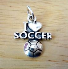 17x20mm I Love (Heart) Soccer /Ball Sterling Silver Charm