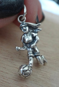 16x22mm Girl Soccer Player with Ball Sterling Silver Charm!
