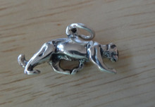 12x18mm 3D Mountain Lion Cougar Panther Sterling Silver Charm