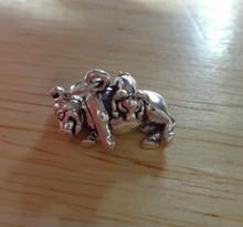 3D 3.5 gram Pig w/ Piglet Farm Animal Sterling Silver Charm