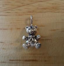 Small solid 3 gram 3D Teddy Bear Animal Sterling Silver Charm