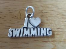 18x14mm Solid 3.3 gram I Love (Heart) Swimming Swim Sterling Silver Charm