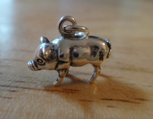 3D 15x12mm Solid Pig Farm Animal Sterling Silver Charm