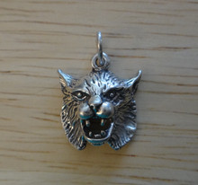 15x17mm Bobcat Wildcat Head Animal Sterling Silver Charm