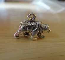 3D 17x12mm Grizzly Brown Bear Sterling Silver Charm