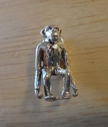 3D 10x16mm Chimpanzee Monkey Sterling Silver Charm