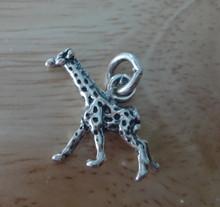 3D 17x17mm Giraffe Sterling Silver Charm