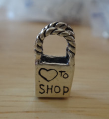 3D 8x16mm Shopping Bag Love (Heart) to Shop Sterling Silver Charm