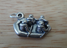 3D 17x11mm White Water River Rafting Rafter Sterling Silver Charm