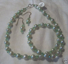"""17"""" Sterling Silver Light Green Fresh Water Pearl & Crystal Necklace and Earring Set"""