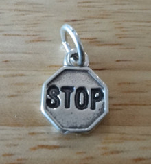 12mm Octagonal Street Stop Sign Sterling Silver Charm
